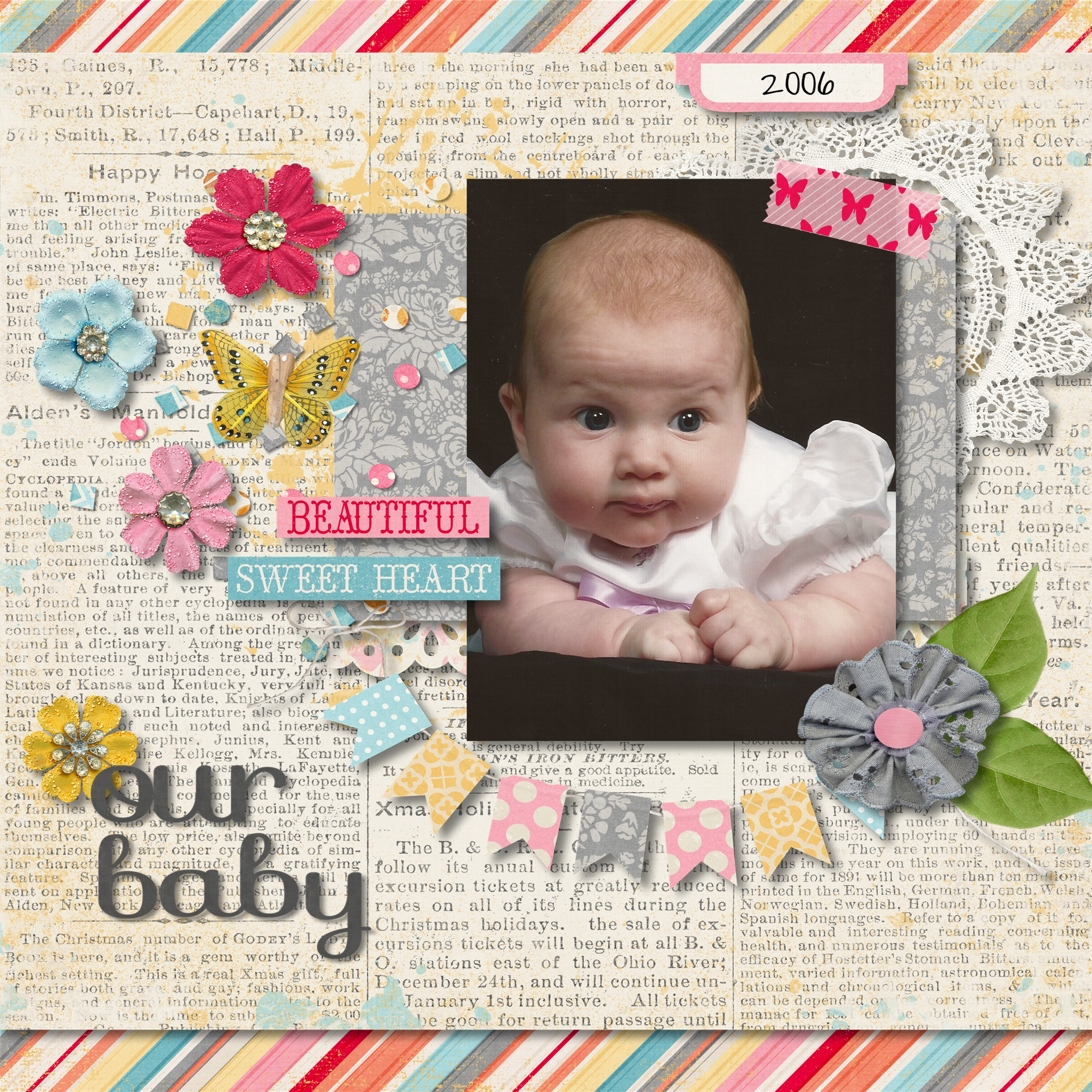 How to scrapbook baby book - Carly S Baby Book Page 001